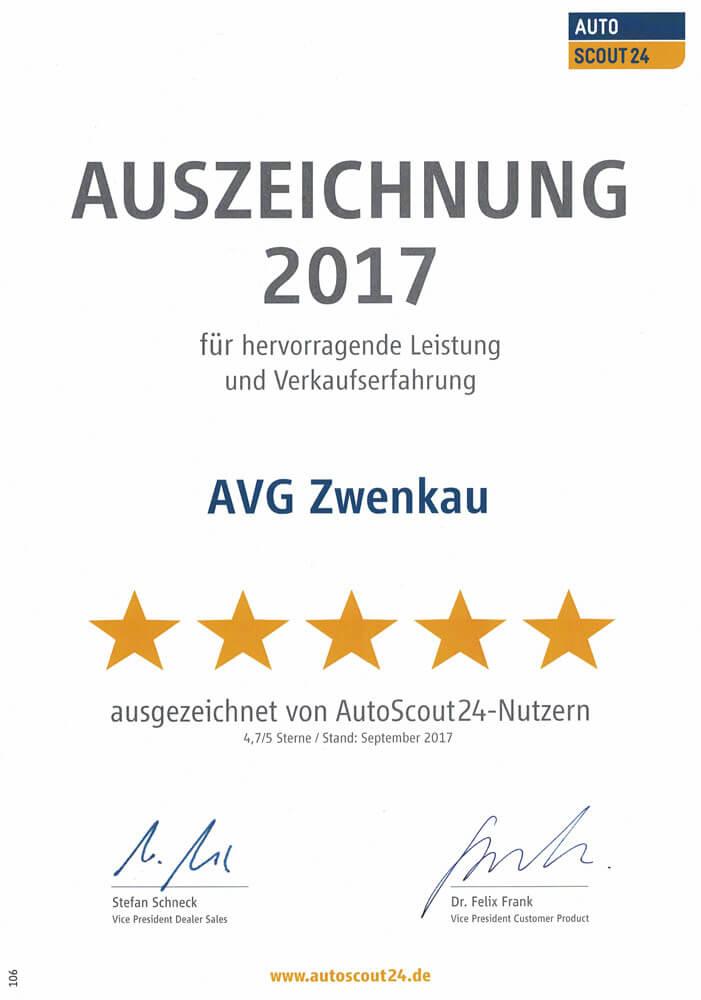 AutoScout24 Auszeichnung 2017